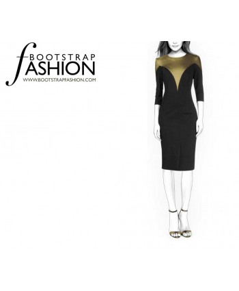 Custom-Fit Sewing Patterns - Fitted Color Blocked Dress