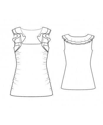 Custom-Fit Sewing Patterns - Shoulder Ruffle Knit Top