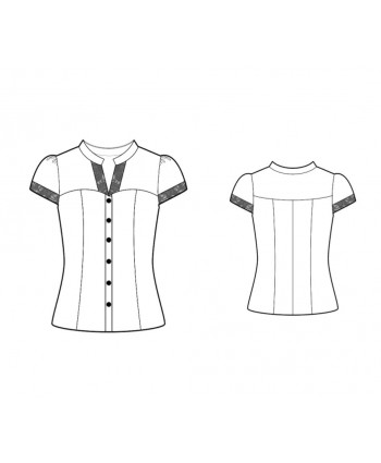 Custom-Fit Sewing Patterns - Short-Sleeved Button-Down Blouse With Lace Trim