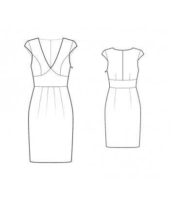 Custom-Fit Sewing Patterns - V-Neck Dress With Draped Skirt