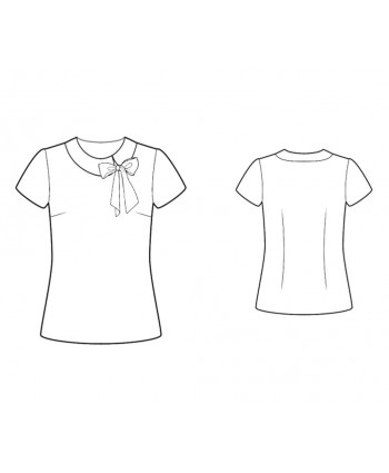 Custom-Fit Sewing Patterns - Short-Sleeved Blouse With Decorative Bow