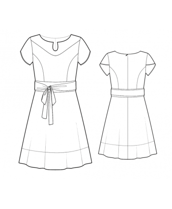 Custom-Fit Sewing Patterns - Fit and Flare Color Blocked Dress With Belt