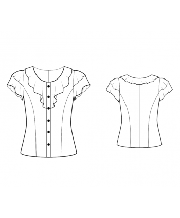 Custom-Fit Sewing Patterns - Ruffled Collar And Sleeves Blouse