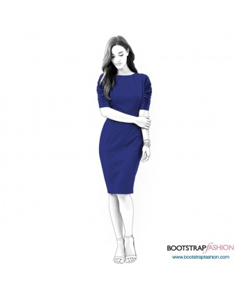 Custom-Fit Sewing Patterns - Draped Sleeves Dress