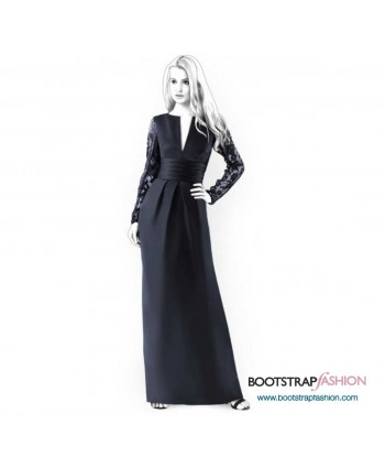 Custom-Fit Sewing Patterns - Slit Neck Dress With Draped Cinched Waist