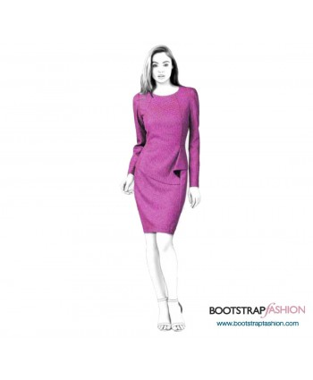 Custom-Fit Sewing Patterns - Princess Seams Dress With Asymmetrical Overlay Detail