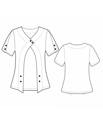 Custom-Fit Sewing Patterns - V-Neck Blouse With Front Flyaway