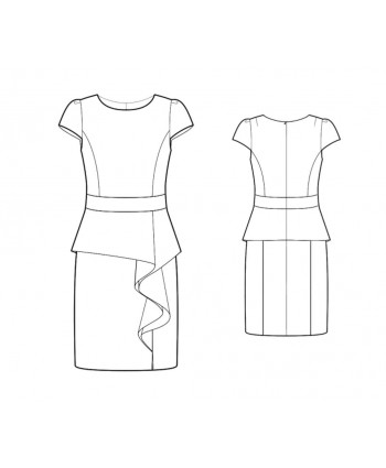 Custom-Fit Sewing Patterns - Dress With Cascading Peplum