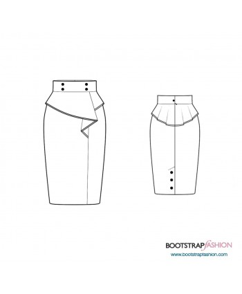 Custom-Fit Sewing Patterns - Skirt With Asymmetrical Peplum