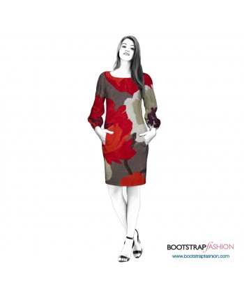 Custom-Fit Sewing Patterns - Knit Dress With Poet Sleeves