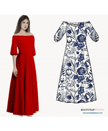 Custom-Fit Sewing Patterns - Off-Shoulder Dress With Raglan Sleeves