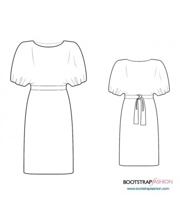 Custom-Fit Sewing Patterns - Dress With Batwing Sleeve