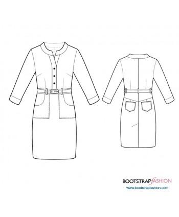 Custom-Fit Sewing Patterns - Shirt Dress With Mandarin Collar
