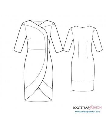 Custom-Fit Sewing Patterns - Wrap Dress Contrast Trim
