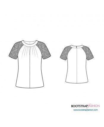 Custom-Fit Sewing Patterns - Raglan Sleeve Blouse With Pleated Front