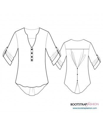 Custom-Fit Sewing Patterns - Blouse With Button-Decorated Back
