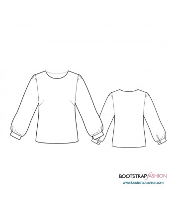 Custom-Fit Sewing Patterns - Blouse With Gathered Sleeves