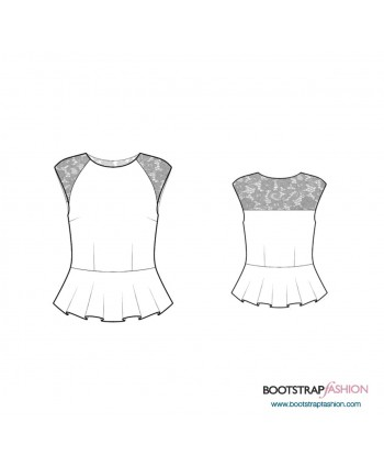 Custom-Fit Sewing Patterns - Raglan-Sleeved Blouse With Peplum