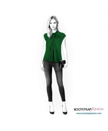 Custom-Fit Sewing Patterns - Blouse With Pleated Neckline