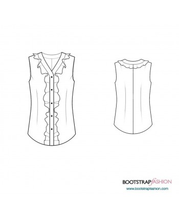 Custom-Fit Sewing Patterns - Blouse With Front  Ruffles