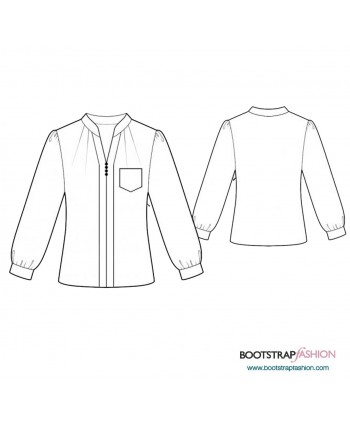 Custom-Fit Sewing Patterns - Mandarin Collar Blouse With Long Sleeves
