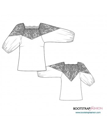 Custom-Fit Sewing Patterns - Blouse With Lace Yoke