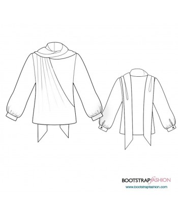 Custom-Fit Sewing Patterns - Blouse With Scarf Imitation