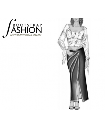 Custom-Fit Sewing Patterns - Diagonal Seams Maxi Wrap Skirt