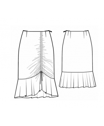 Custom-Fit Sewing Patterns - Bottom Ruffle Past Knee Skirt