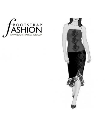 Custom-Fit Sewing Patterns - Bottom Ruffle Past Knee Skirt