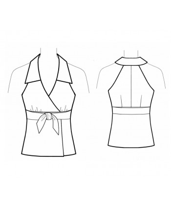 Custom-Fit Sewing Patterns - Tie-Front Halter Top with Collar