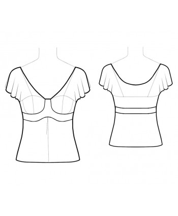 Custom-Fit Sewing Patterns - Plunging V-Neck Ascending Empire Top