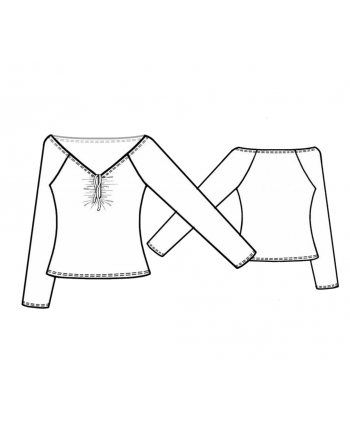 Custom-Fit Sewing Patterns - Ruched Wide V Knit Top