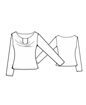 Custom-Fit Sewing Patterns - Peek-A-Boo Cowl Neckline Knit Top