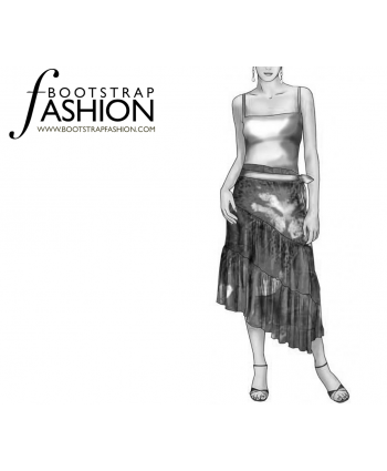 Custom-Fit Sewing Patterns - Asymmetrical Layered Maxi Skirt