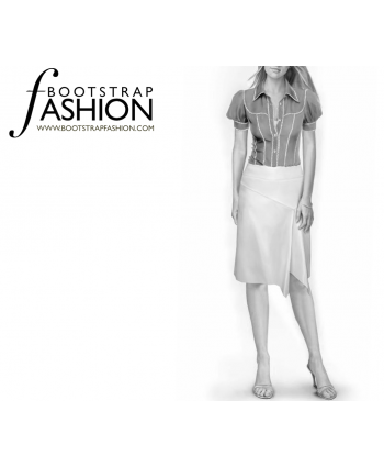 Custom-Fit Sewing Patterns - Flowy Front Slit Short Skirt