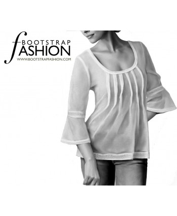 Custom-Fit Sewing Patterns - Scoop Neck Pin-tuck Top