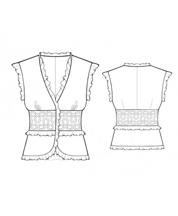 Custom-Fit Sewing Patterns - Ruffled Blouse with Fitted Waist