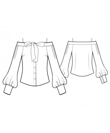 Custom-Fit Sewing Patterns - Off-the-Shoulder Tie-Front Button-Down Blouse