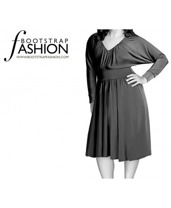 Custom-Fit Sewing Patterns - Dolman Sleeve Ruched Front Knit Dress