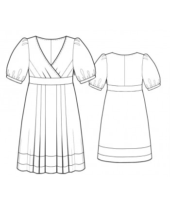 Custom-Fit Sewing Patterns - Surplice Puff Sleeve Empire Waist Dress