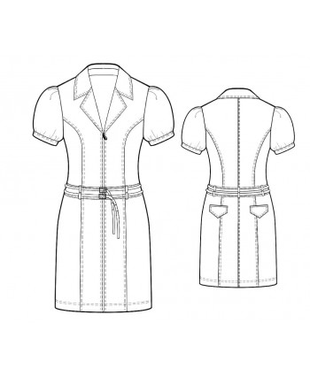 Custom-Fit Sewing Patterns - Shirt Dress with Double-Stitched Seams