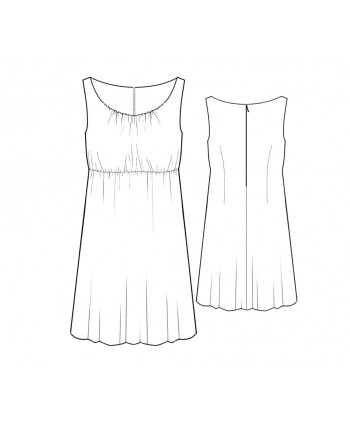 Custom-Fit Sewing Patterns - Wide Scoop Neck Rushed Dress