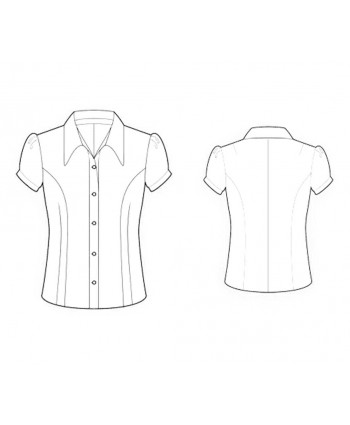 Custom-Fit Sewing Patterns - Cap-Sleeved Button-Down Tailored Blouse