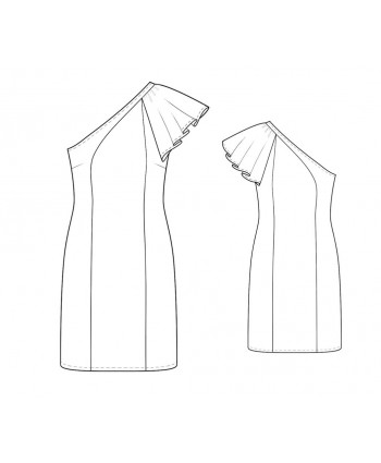 Custom-Fit Sewing Patterns - One-Shoulder Flutter Sleeve Dress