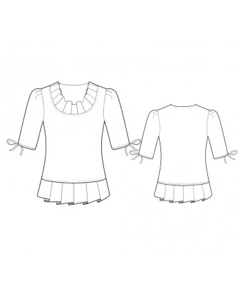 Custom-Fit Sewing Patterns - Scoop-Neck Blouse with Pleats