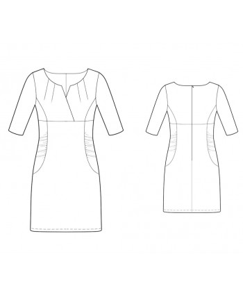 Custom-Fit Sewing Patterns - High-Waisted Dress with Pointed Neckline