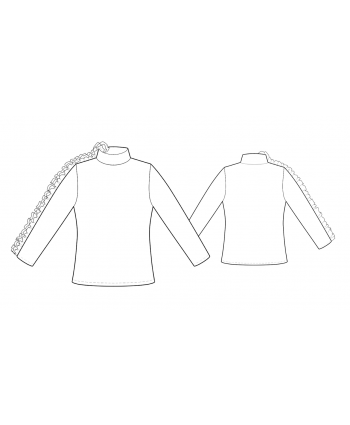 Custom-Fit Sewing Patterns - Ruffle Detail Sleeve Knit Turtleneck