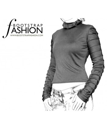 Custom-Fit Sewing Patterns - Ruched Sleeves Knit Turtleneck