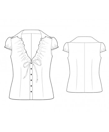 Custom-Fit Sewing Patterns - V-Neck, Ruffle-Front Blouse with Tie